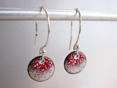 Good things come in small packages: Petite Circle Enamel Earrings, Cherry Red & Ivory by Marstinia Enamel Designs