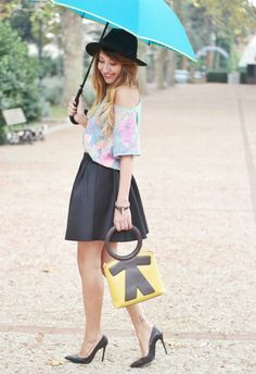 black skirt high heels