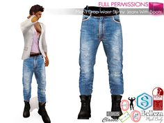 Weekend Sale Men's | marketplace.secondlife.com/p/WEEKENDSAL… | Flickr Skinny Jeans With Boots, Weekend Sale, Perm, Drop Waist, Fashion, Fashion Styles, Wavy Perm, Fasion, Fashion Illustrations