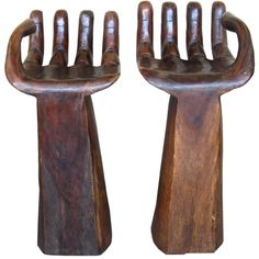 Pair of Carved Bar Stools Style of Pedro Friedeberg (1960s)