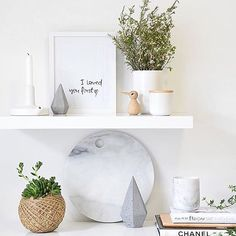 """""""I am continuously amazed with Jac from @refine.design's styling white and bright you can create a shelf like this with the Lovatt candleholder and cement gem both available on the website 