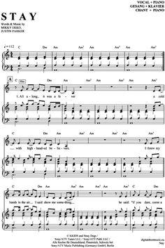 Stay (feat. Mikky Ekko) (Klavier + Gesang) Rihanna [PDF Noten] >>> KLICK auf die Noten um Reinzuhören <<< Noten und Playback zum Download für verschiedene Instrumente bei notendownload Blockflöte, Querflöte, Gesang, Keyboard, Klavier, Klarinette, Saxophon, Trompete, Posaune, Violine, Violoncello, E-Bass, und andere ...