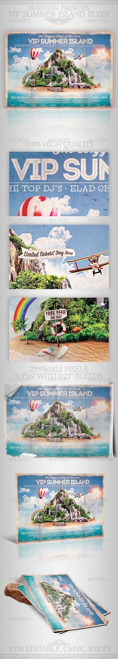 VIP Summer Island Beach Flyer Template - Clubs & Parties Events