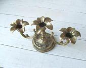 Vintage Brass Candelabra Candleholder for 3 taper candles