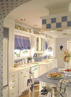 Love the periwinkle, matched well with blue spode, pops of red and yellow would be perfectly french country