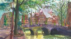 Interesting...paint the colors first then draw with insoluble colored pencils. Bike Bridge Amsterdam