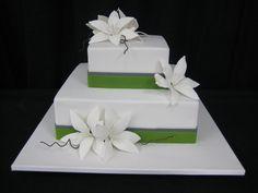 White Lily & Leaf Green Magnolia Wedding Cake