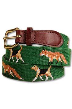 Needlpoint Fox and Hound Belt