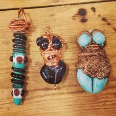 Handmade glass&copper pendants