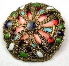 Antique French Enamel Button w/Colorful Floral Design