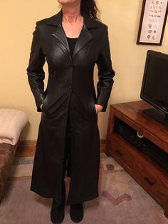 Ledermantel Damen Größe 34/36 (IT 42), schwarz   eBay