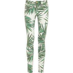 Michael Michael Kors Printed Mid-Rise Skinny Jeans ($245) ❤ liked on Polyvore