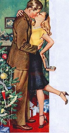 Love...the best gift of all. ~ Romantic WWII era illustration of a soldier on leave at home spending Christmas with his girl, ca. 1940s.