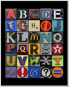 Alphabet mosaic wall art! FREE printable! Just upload to your favorite photo devloper and you are all set.