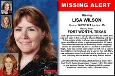 LISA WILSON, Age Now: 55, Missing: 12/23/1974. Missing From FORT WORTH, TX. ANYONE HAVING INFORMATION SHOULD CONTACT: Fort Worth Police Department (Texas) - 1-817-335-4222.