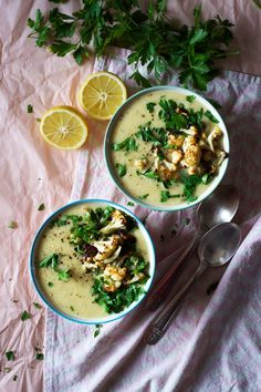 White Winter Chowder with Roasted Cauliflower | A creamy potato and cabbage soup with loads of lemon and mustard flavour! Easy, vegan and gluten free