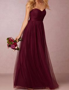 Burgundy Sweetheart Backless A-Line Long Bridesmaid Dress