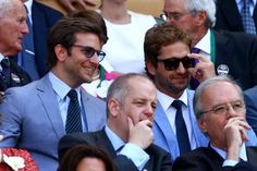 Bradley Cooper and Gerard Butler step out for the Wimbledon finals in snazzy matching suits.