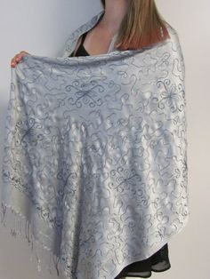 classy silver grey shawl to treasure as it is an all over embroidered beauty- buy shawls and wraps on sale and enjoy adding accessories you will love for all seasons to your wardrobe.