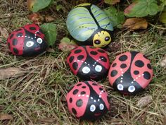 Lady Bugs and Other Insects original painting in acrylic on rocks and stones