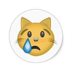Crying Cat Face Emoji Round Stickers