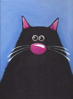 Original acrylic canvas painting whimsical black fat cat art The Blue Cat (1) #Modernism
