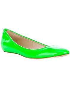 Bright green patent leather ballet pump from Casadei featuring a round toe and a leather sole.