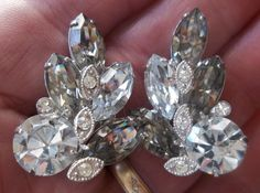 Vintage Eisenberg Ice Smoky and Clear Crystal Rhinestone Clip Back Earrings. SOLD
