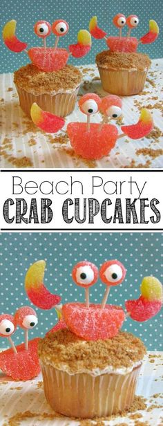 Cupcakes These crab cupcakes are SO cute and perfect for a beach party or summer BBQ.These crab cupcakes are SO cute and perfect for a beach party or summer BBQ. Crab Cupcakes, Cupcake Cookies, Cupcakes Kids, Pool Cupcakes, Tropical Cupcakes, Festa Party, Luau Party, Bbq Party, Beach Party Decor