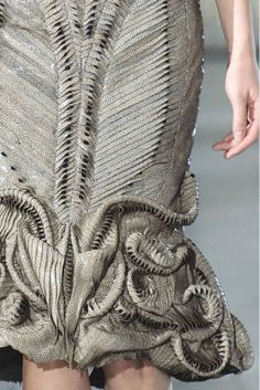Dress detail with intricate patterns & micro textures; textiles for fashion; structural fabric manipulation // Iris van Herpen