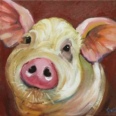 Pig+painting+66+12x12+inch+original+oil+painting+by+Roz+by+RozArt