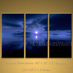 Triptych Contemporary Wall Art Seascape Moon Scene Canvas Stretched. In Stock $135 from OilPaintingShops.com @Bo Yi Gallery/ ops3079