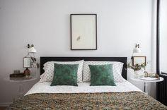 Ikea 'Ranarp' wall lights in bedroom