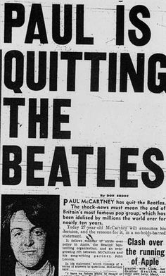 Paul McCartney formally announced on April 10, 1970 that he would be leaving the popular band, The Beatles.