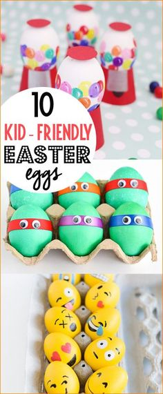 10 Kid-Friendly Easter Eggs.  Creative Easter eggs the kids will love.  Character Easter eggs full of color and charm.  Family friendly Easter activities.