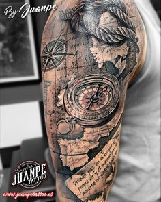 What does nautical tattoos mean? We have nautical tattoos ideas, designs, symbolism and we explain the meaning behind the tattoo. Pirate Tattoo Sleeve, Nautical Tattoo Sleeve, Best Sleeve Tattoos, Tattoo Sleeve Designs, Upper Arm Tattoos, Leg Tattoos, Body Art Tattoos, Tattoos For Guys, Tattos