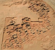This aerial photo shows a series of pyramids and graves that a team of archaeologists has been exploring at Sedeinga in Sudan, ancient Kush, 2000 BCE. Since 2009 they have discovered at least 35 small pyramids at the site, the largest being 22 feet (7 meters) in width.