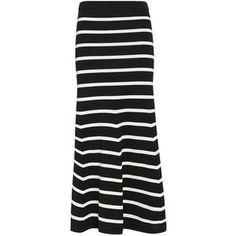 Cardigan Striped Knit Flare Maxi Skirt