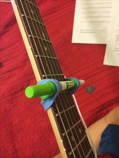 DIY guitar capo - one marker and two rubber wrist bands-- in case I'm without a capo