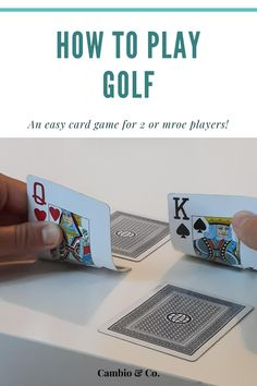 Golf is an easy card game for 2 or more players. Just like the sport, the aim of the game is to achieve the lowest possible score by exchanging cards in your square. Check out www.cambion.com for the full rules. Playing Card Games, Old Cards, Play Golf, Improve Yourself, Sport, Check, Easy, Deporte, Old Maps
