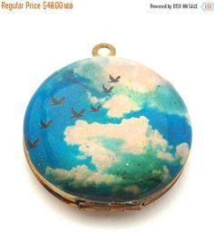 Vintage Locket Necklace Birds Flight in Sky Clouds Blue by verabel