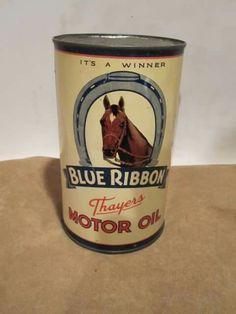 Blue Ribbon Motor Oil can Vintage Oil Cans, Vintage Tools, Vintage Signs, Old Gas Pumps, Vintage Gas Pumps, Gas Service, Tyre Shop, Old Gas Stations, Oil Drum