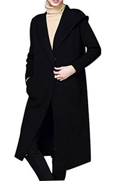 Mordenmiss Women's Long Sweater Cardigan Coat with Hood and Pockets Black - Brought to you by Avarsha.com