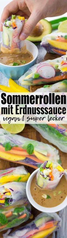 Sommerrollen mit Erdnusssauce gehen einfach immer! Super lecker, gesund und einfach zuzubereiten. Das perfekte Party Food! Mehr vegetarische Rezepte und vegane Rezepte auf veganheaven.de!