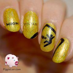 PiggieLuv: Warning! Danger! High voltage nail art