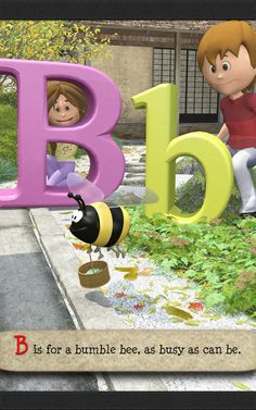 B is the next letter in the ABC poem and again, a silly image of a bee carrying a basket drives home alliteration. Silly Images, Alliteration, Kindergarten, Poems, Preschool, Bee, Basket, Lettering, Learning