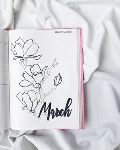 Bullet journal monthly cover page, March cover page, flower drawings, hand lettering. | @juniorincollege