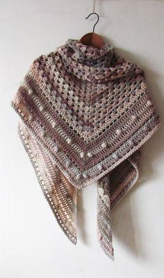 Crochet Wool Shawl - Warm Winter Shawl - Pastel Ivory-Beige Wrap - Handmade Hand Knit - Ready To Ship Crochet Wool, Crochet Winter, Crochet Shawl, Hand Crochet, Hand Knitting, Knitted Shawls, Crochet Scarves, Blanket Shawl, Triangle Scarf