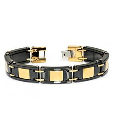 Black Ceramic and Yellow Gold Quality Plated Men's Designer Bracelet Hypoallergenic In Design Men's Bracelet Fashion Gift For Him If you love fashion check us out. We're always adding new products for your closet! Mens Bracelet Fashion, Fashion Jewelry, Gifts For Husband, Gifts For Him, Urban Jewelry, Ceramic Jewelry, American Jewelry, Bracelet Designs, Boyfriend Gifts