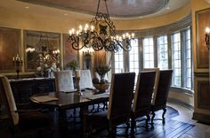 Dazzling Dining Room Chandeliers Ideas: Ceiling With Dining Room Chandeliers In Linear Chandelier And Wrought Iron Chandelier Also Dining Room Set With Rustic Wall Mirror And Candle Stick Holders Plus Window Treatment